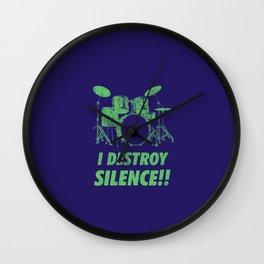 I Destroy Silence Funny Drums Vintage Drummer Distressed Wall Clock