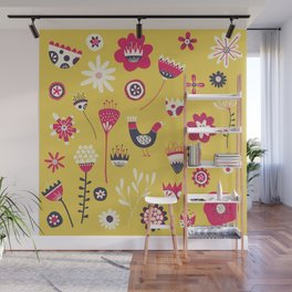 Scandi Floral Yellow Wall Mural