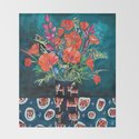 California Poppy and Wildflower Bouquet on Emerald with Tigers Still Life Painting by larameintjes