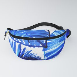 Bright Blue Jungle Leaves Fanny Pack