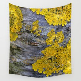 Tree Bark Pattern # 3 with yellow lichen Wall Tapestry