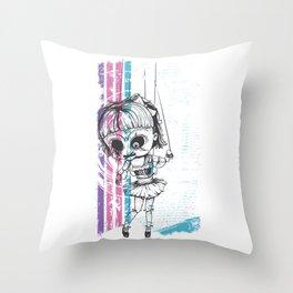 Grunge Doll Throw Pillow