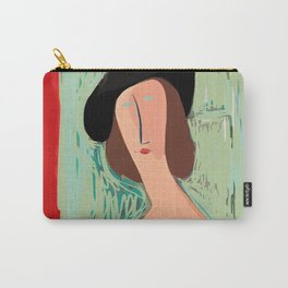 "Portrait of a girl with a shirt ""I Love Modi"" Carry-All Pouch"