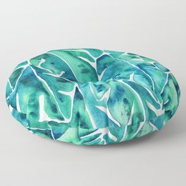 Split Leaf Philodendron – Teal Floor Pillow