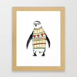 Cute penguin with a sweater Framed Art Print