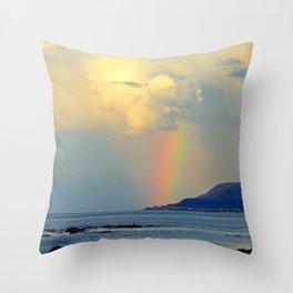 Storm Drops a Rainbow onto Village Throw Pillow