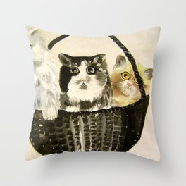 three kittens Throw Pillow