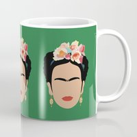 frida Mugs featuring frida by Live It Up