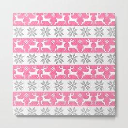Watercolor Fair Isle in Pink & Grey Metal Print