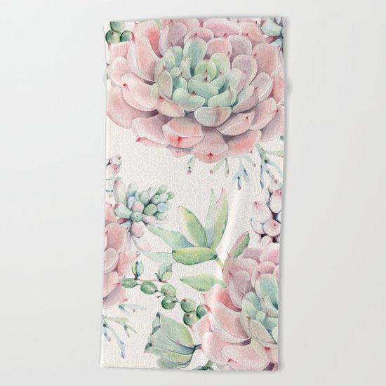 Pink Succulents on Cream Beach Towel