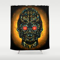 sith Shower Curtains featuring Sith Three Pe Oh Sacrifice Procurement Drone by Quakerninja