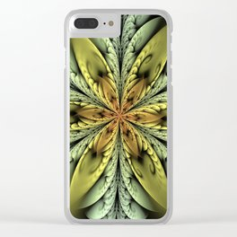 Golden flower with mint swirls Clear iPhone Case