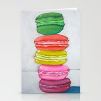 macaron Stationery Cards featuring macaron stack. by nicole newsted
