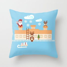Santa Claus deliver presents on Christmas Eve Throw Pillow