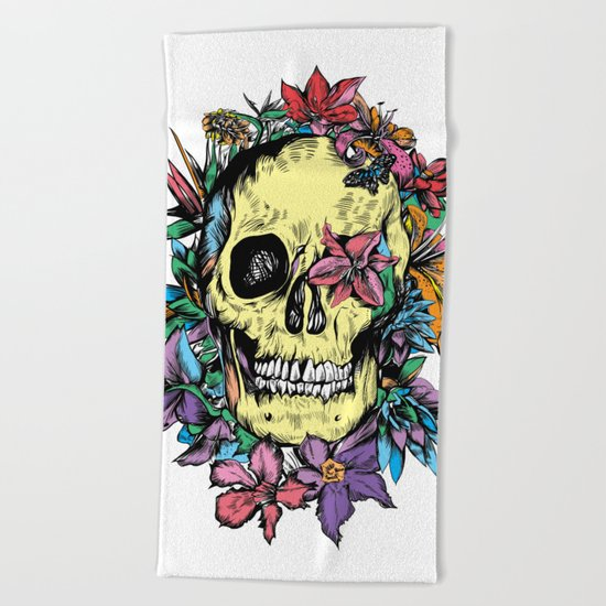 floral skull colorful drawing Beach Towel