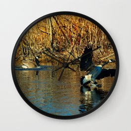 Canadian Geese: On the Run Wall Clock