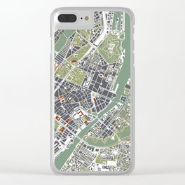 Copenhagen city map engraving Clear iPhone Case