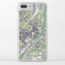 Copenhagen city map engraving Clear iPhone Case