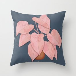 Big Pink Leafy Houseplant Throw Pillow