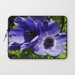 Two Blue Mauve Anemone - Close Up Windflowers  Laptop Sleeve
