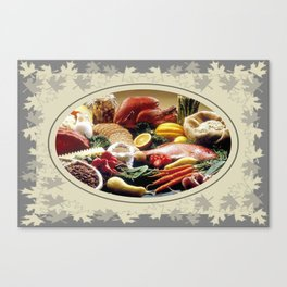 Thanksgiving Dinner and Autumn Decoration. Canvas Print