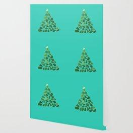 Green Sea Glass Tree on Turquoise #seaglass #Christmas Wallpaper