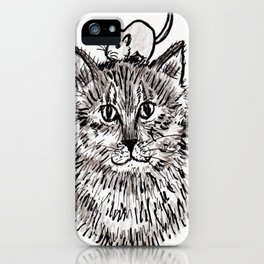 Grey Kitty and a Mouse iPhone Case