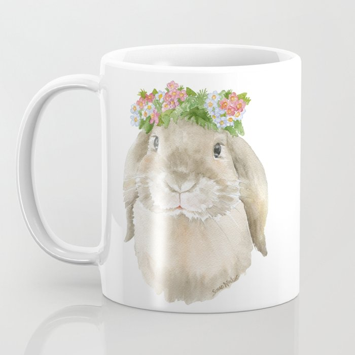 Lop Rabbit Floral Wreath Watercolor Painting Coffee Mug