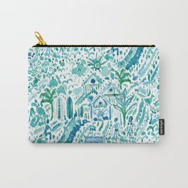 IDEAL BEACH HOUSE Aqua Watercolor Print Carry-All Pouch