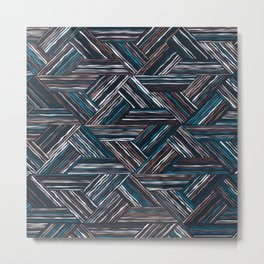 TRIANGLE-BLUE & WHITE STRIPES Metal Print