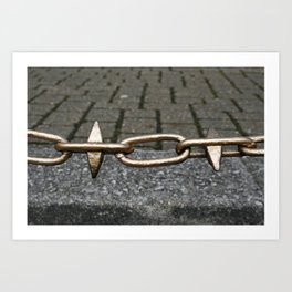 Chained link fence Art Print