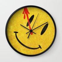 watchmen Wall Clocks featuring The Watchmen (Super Minimalist series) by Itomi Bhaa