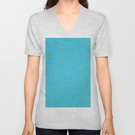 Moroccan Nights - Gold Teal Mandala Pattern - Mix & Match with Simplicity of Life Unisex V-Neck