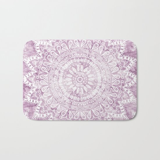 BOHEMIAN FLOWER MANDALA IN PINK Bath Mat