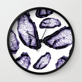 Ultra Violet Agate Pattern #3 #gem #decor #art #society6 Wall Clock