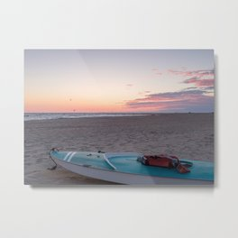 Beach Sunrise And Ocean Kayak Metal Print