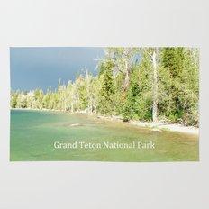 Grand Teton National Park. Landscape photography of lake and trees. Rug