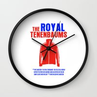 the royal tenenbaums Wall Clocks featuring The Royal Tenenbaums Movie Poster by FunnyFaceArt