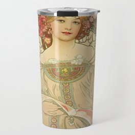 Vintage poster - Woman with flowers Travel Mug