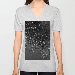 Dark Gray Black Lady Glitter #1 #shiny #decor #art #society6 Unisex V-Neck