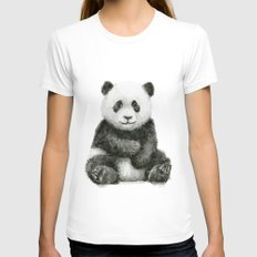 Panda Baby Watercolor Animal Art White SMALL Womens Fitted Tee