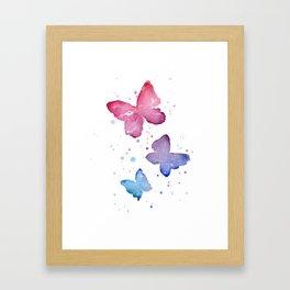 Butterflies Watercolor Abstract Splatters Framed Art Print