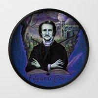 edgar allan poe Wall Clocks featuring Edgar Allan Poe Gothic by Scott Jackson Monsterman Graphic