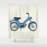 motorbike Shower Curtains featuring Motorbike Automatic 3 MS - Tomos by Jus Project