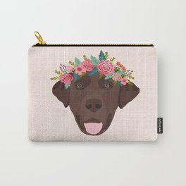Chocolate Lab floral crown dog breed pet art labrador retrievers dog lovers giftsChocolate Lab flora Carry-All Pouch