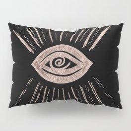 Evil Eye Rose Gold on Black #1 #drawing #decor #art #society6 Pillow Sham