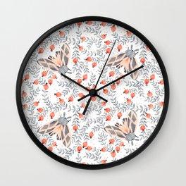 Pink Moth Wall Clock