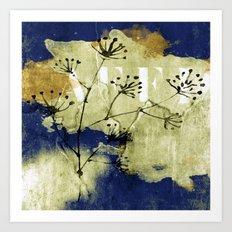 plant on blue wall Art Print