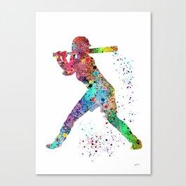 Baseball Softball Player Sports Art Print Watercolor Print Girl's softball Canvas Print
