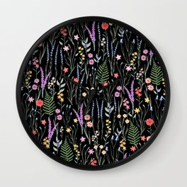The meadows colorful floral pattern Wall Clock
